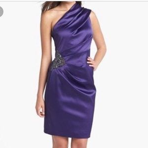 Eliza J one shoulder dress purple embellished 8